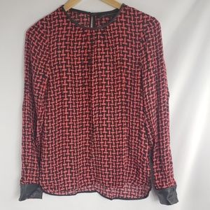 Zara Woman Red Black Basket Weave Blouse